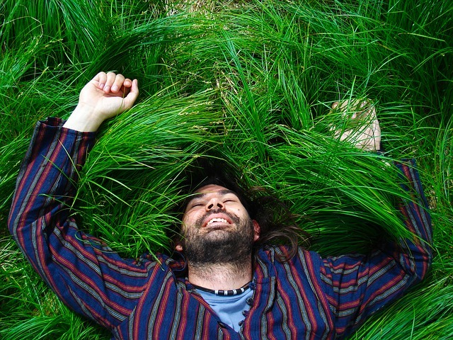 Happy Man on Grass - Loving Life - Work Abroad