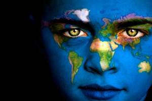 girl the world on her face