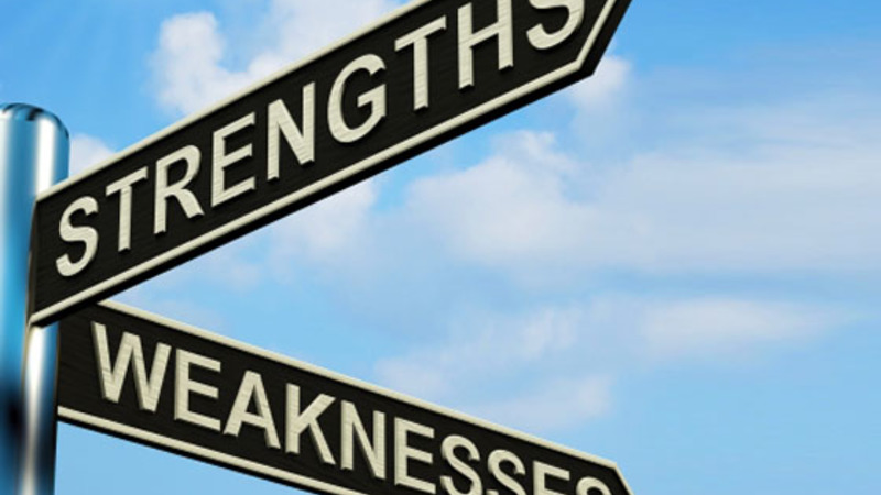 Strengths and weaknesses sign to relfect Adrienn Prezenski's blog on FAQs in job interviews and how to answer them