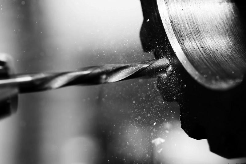 Black and white photo drilling