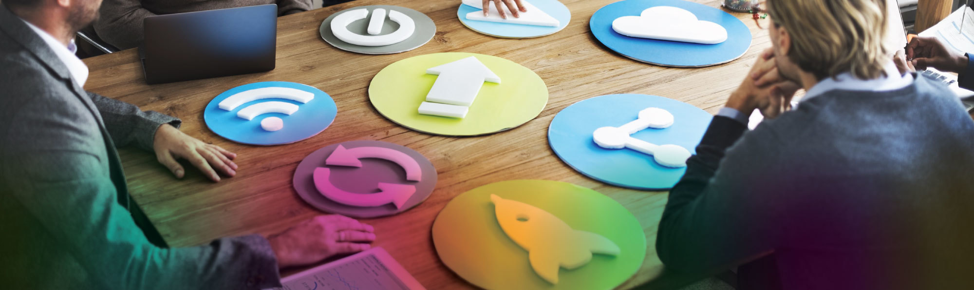 Marketing icons on a meeting desk