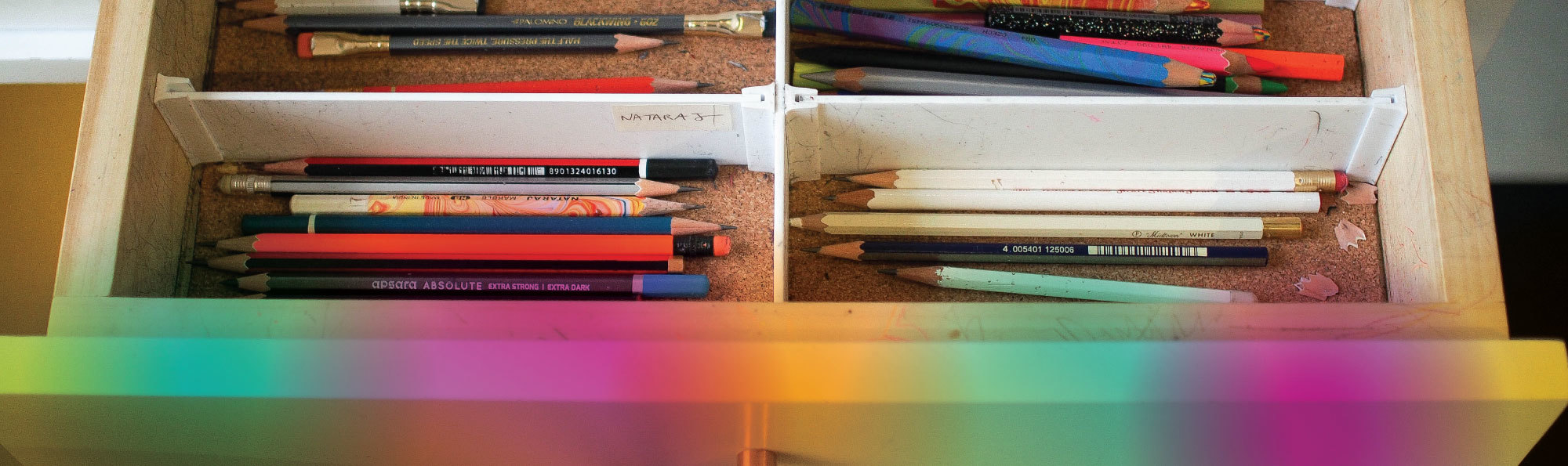 Drawer of pencils