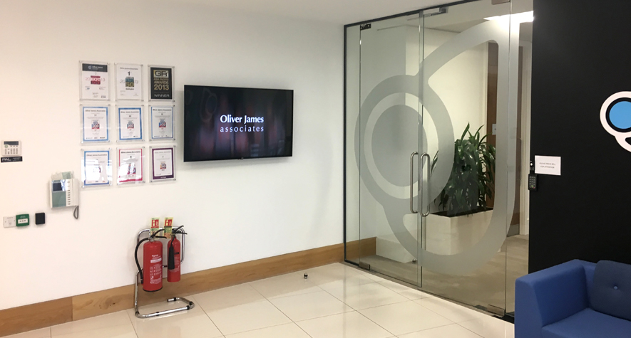 Digital office signage in Oliver James