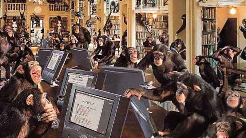 Library of cheeky monkeys searching for domain names to register and sell on