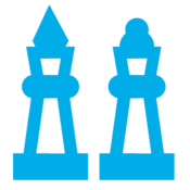 Blue image of chess pieces