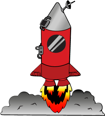 Illustration of a red rocket about to take off
