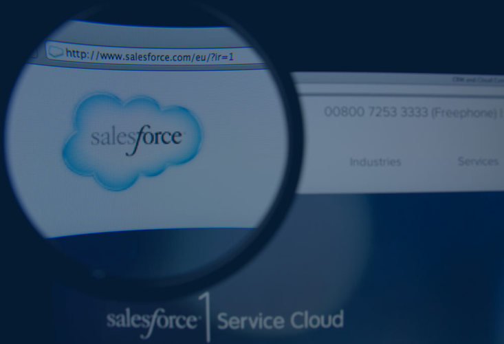 Salesforce website with magnifying glass