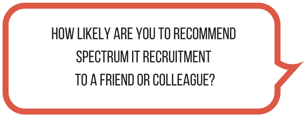Speech bubble with the text How Likely are you to recommend Spectrum IT Recruitment to friends or colleagues?