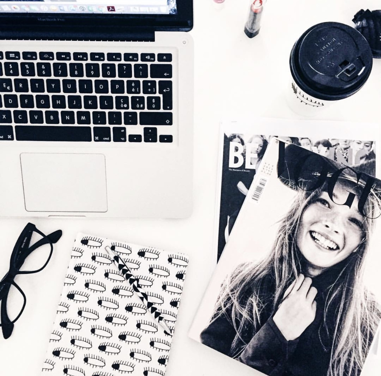 Vogue, coffee,  Apple,  macbookpro,  blackandwhite, career girl, fashion student, office, interior inspo, minimal, blonde, white tee, luxury