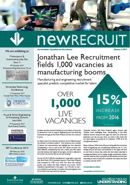 Quarter 4 newsletter from Jonathan Lee, New Recruit, covering engineering manufacturing and technical  sector and human capital and staffing news