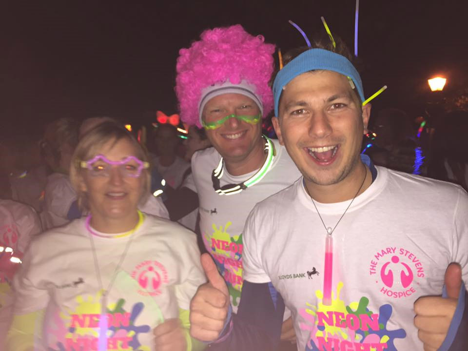Oliver Smith, Jason Cole and Paula Ingram looking bright for the neon night run for Jonathan Lee Recruitment