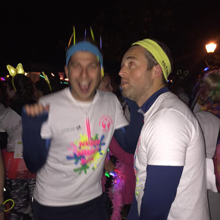 Lee Elwell and Oliver Smith are excited to take part in neon night run for Mary Stevens Hospice as part of the Jonathan Lee Recruitment  team