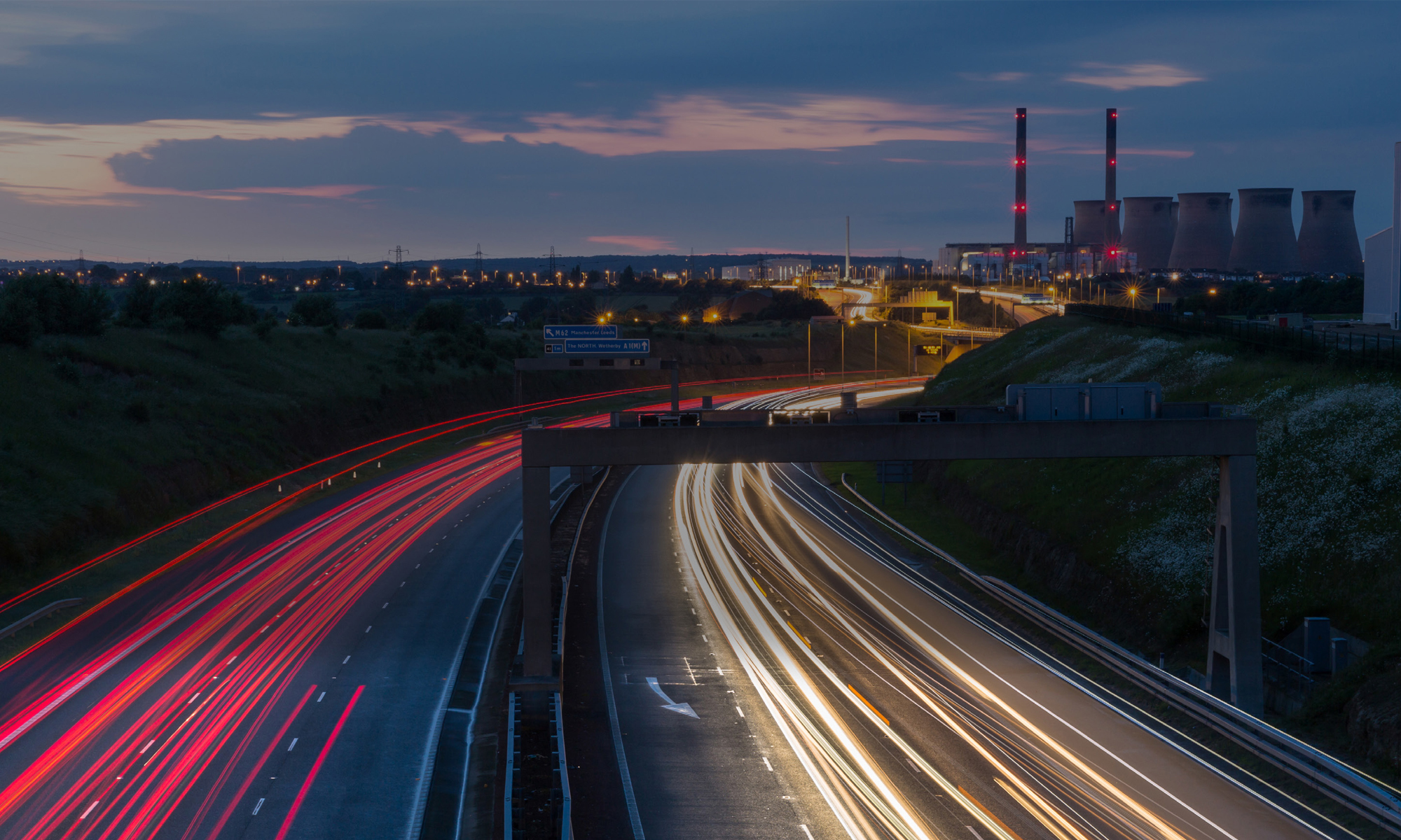 The A1(M) motorway near Ferrybridge Power Station at night
