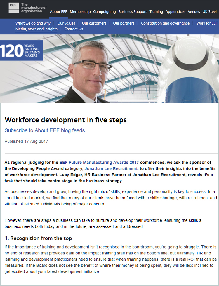 EEF's article - workforce development in five steps - screengrab