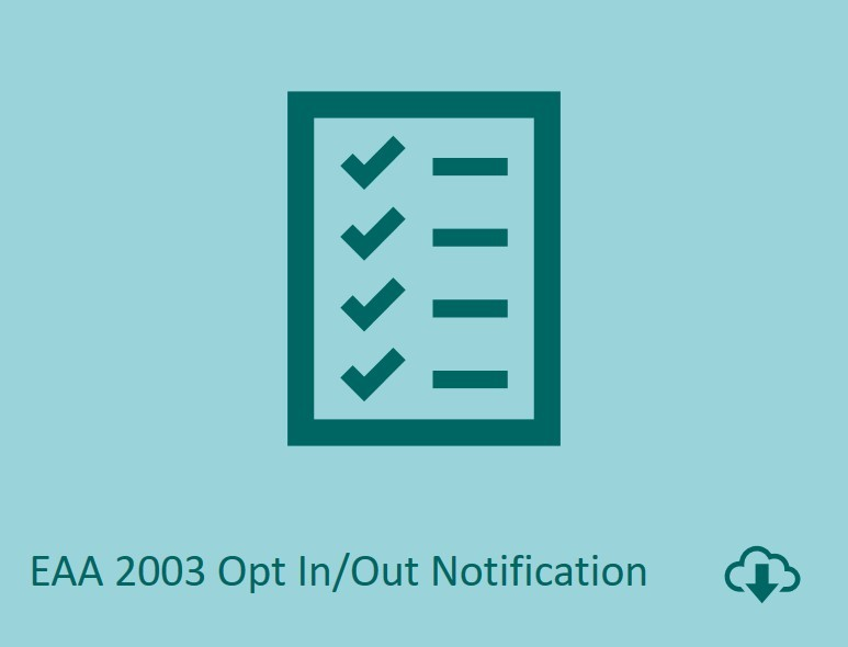EAA 2003 opt in / out notification download image