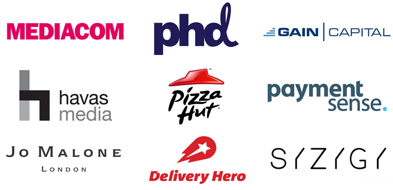 Logos of companies who have hired marketeers