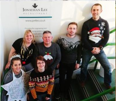 Jonathan Lee's Basildon office for transportation recruitment in Christmas Jumpers