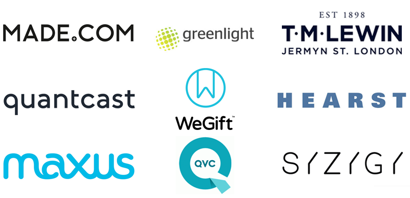 Logos of companies who have hired front end developers, back end developers, project managers and QA testers