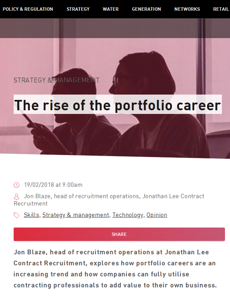 Image of the rise of the portfolio career article in Utility Week