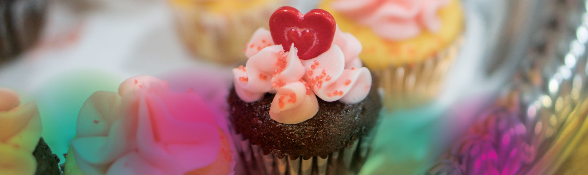 Cakes with heart decoration