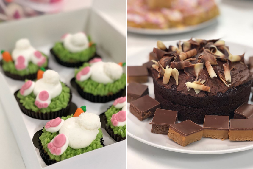 A selection of cakes - Easter bunny cakes and chocolate cakes and chocolate shortbread