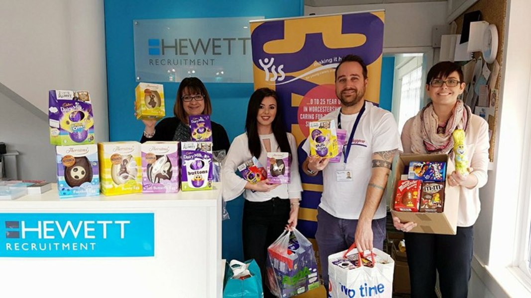 Charity collection of Easter Eggs provided by Hewett Recruitment