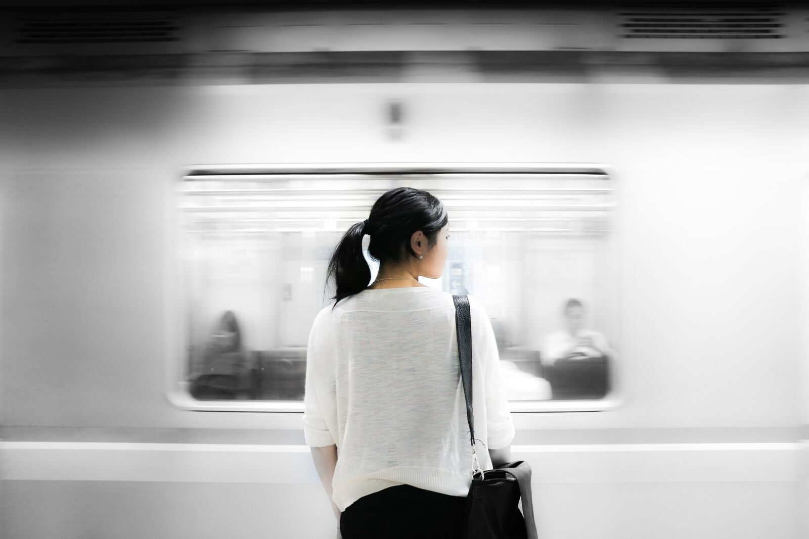 woman, transit, train, subway, underground, blackhair,  young woman, commuter