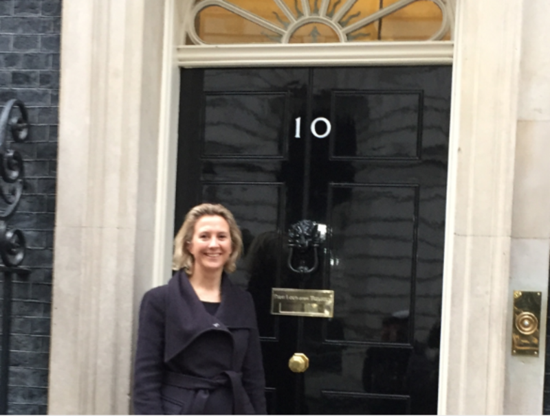 Juliet Turnbull, CEO of 2to3days, at Downing Street for International Women's Day