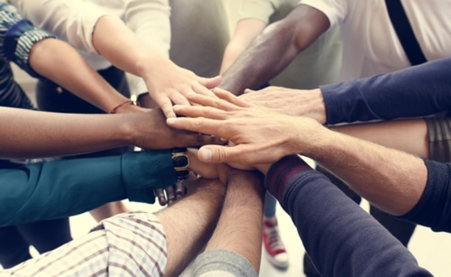 Business People Teamwork Cooperation Hands Together