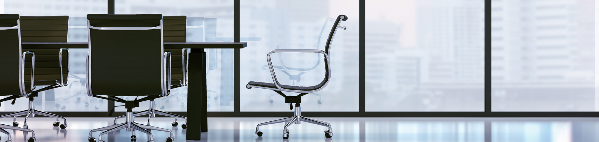 Board of Directors – Katherine Ho Header Image. Featuring an office chair at the head of a boardroom table, surrounded by 4 office chairs. Also featuring glass windows overlooking a faint background of office buildings. Search Consultancy.