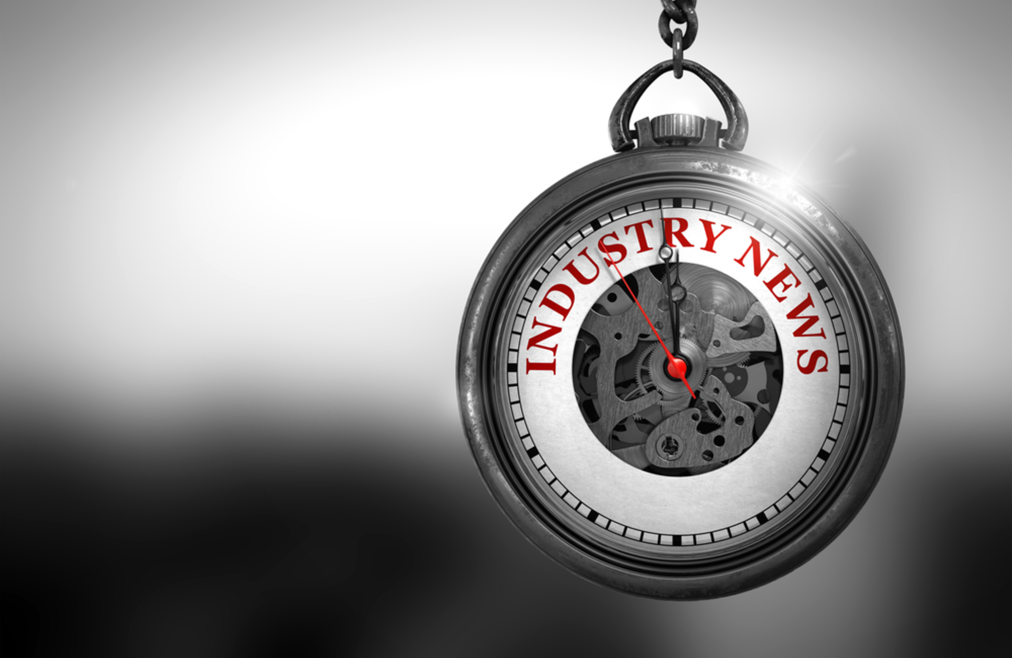Stop Watch with industry news on clock face
