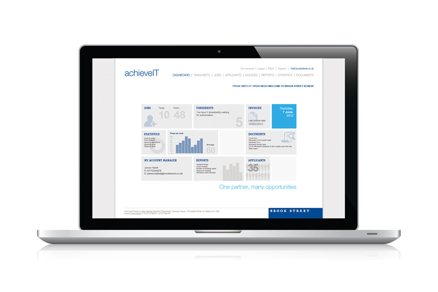 achieveIT - Brook Street's online recruitment dashboard
