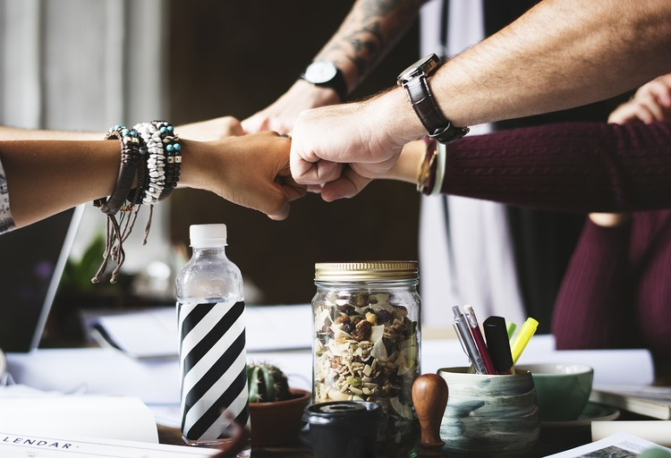 team, success, teamwork, united, work space, jar, fist, fistbump