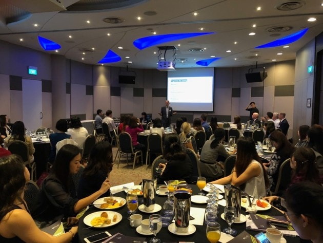 Alex Swarbrick, regional director of Roffey Park Asia Pacific speaks at the Workplace in Asia: Key HR and leadership priorities for 2018 event