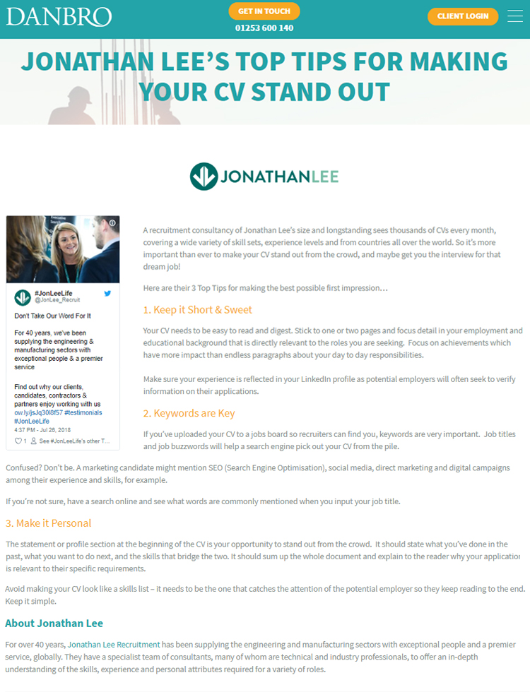 Jonathan Lee's Top Tips For Making Your CV Stand Out - Jonathan Lee