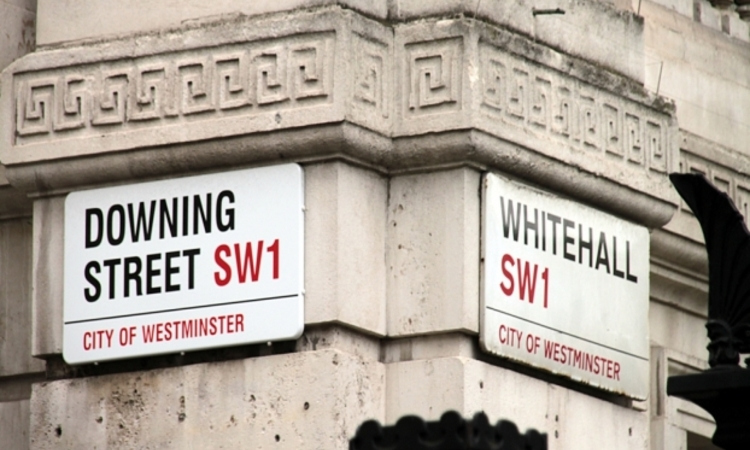 downing street whitehall road sign