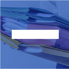 Female admin worker holding paperwork and files - Blue icon image
