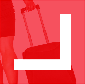 Professional business women pulling a suitcase - Red icon image