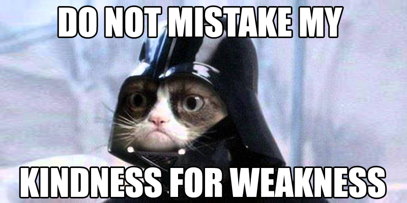 Do not mistake my kindness for weakness.