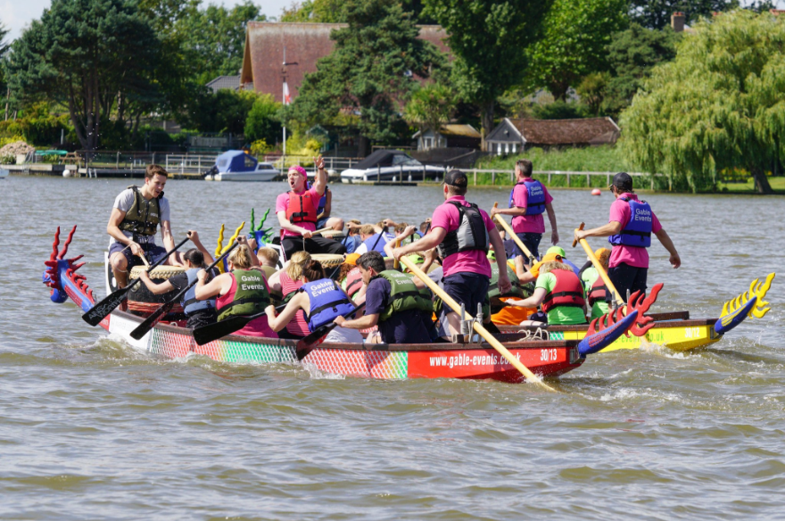 The GCB Recruitment team taking part in Gable Events Dragon Boat race 2018