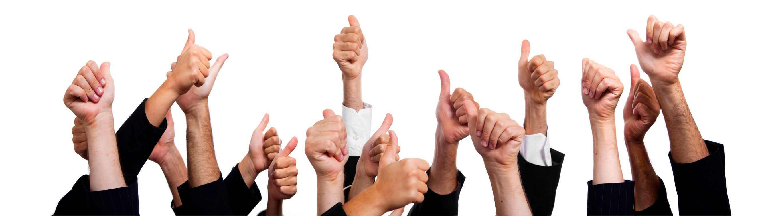 Testimonial Page Header Image of Thumbs up