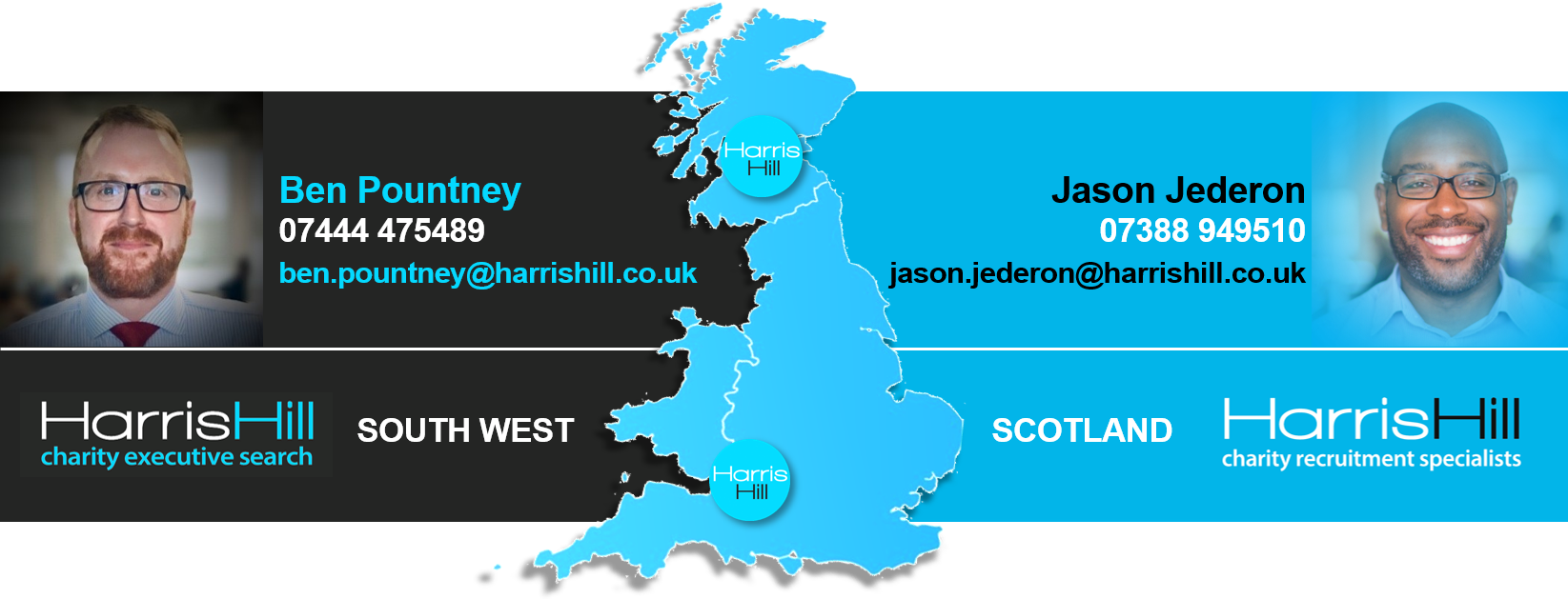 Harris Hill's charity recruitment specialists in Scotland and the South West
