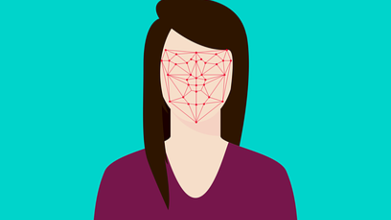Woman with genetic mapping on face