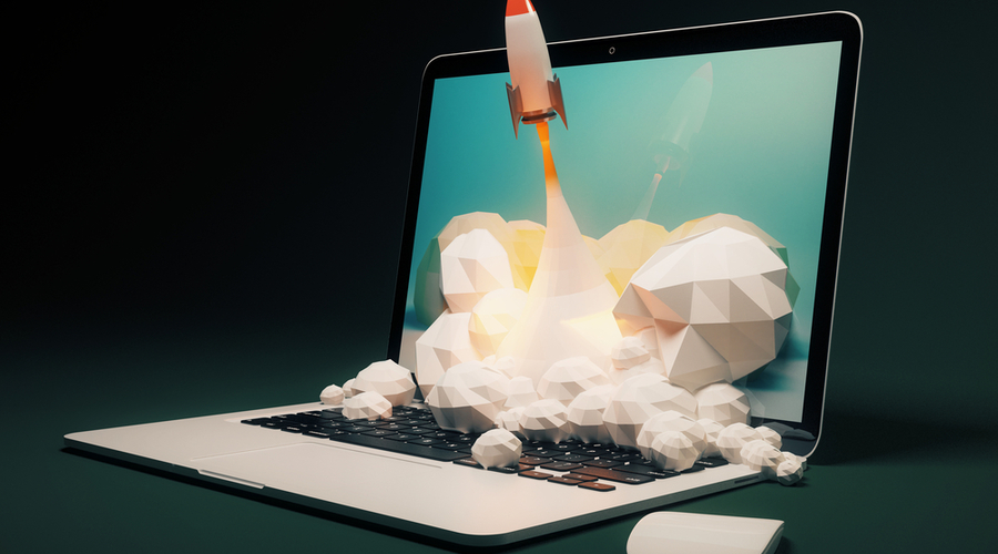 Laptop with rocket