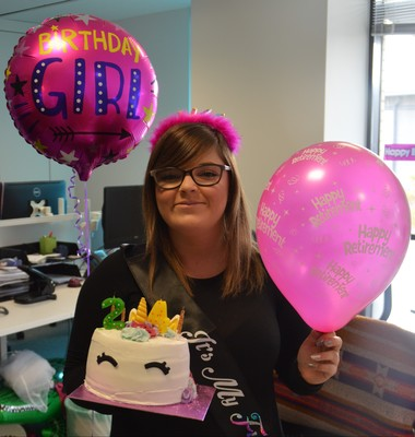young girl celebrates birthday at work at Swanstaff Recruitment