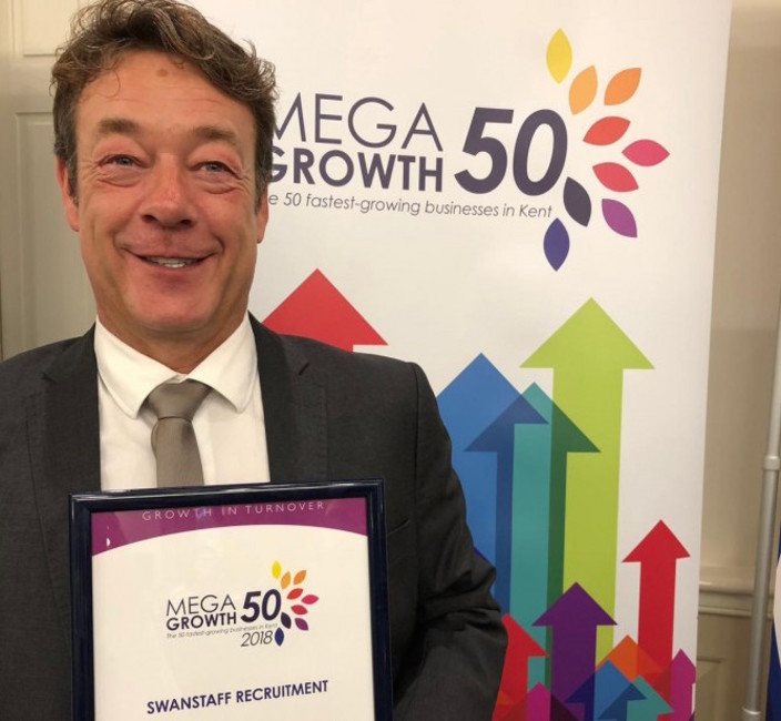 Stephen Rogers of Swanstaff with MegaGrowth50 award 2018