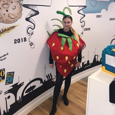 swanstaff recruitment employee dressed as a strawberry