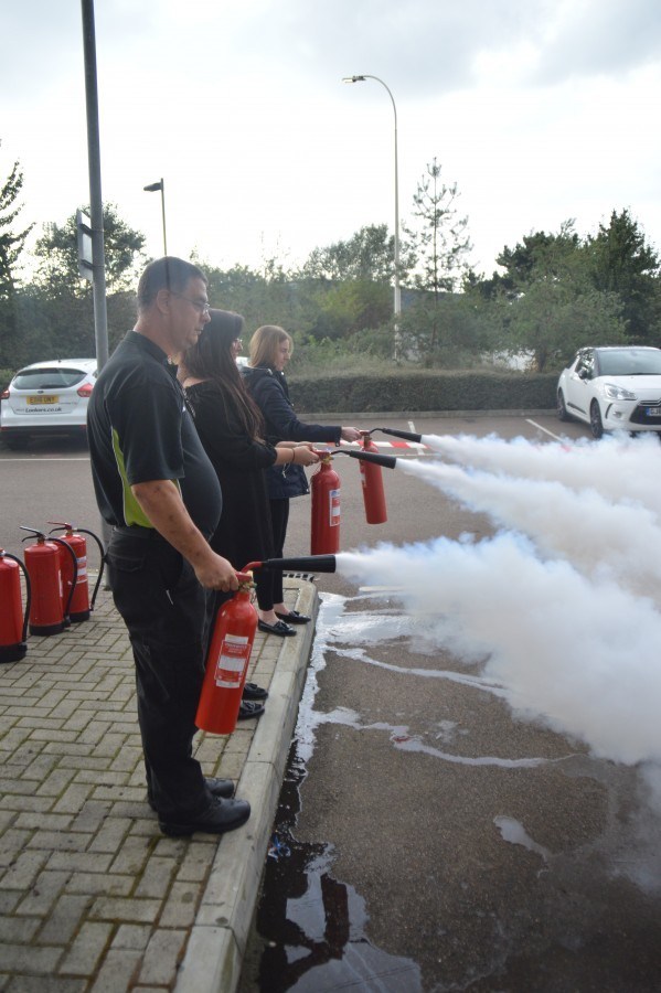 Swanstaff Fire Safety Training with Extinguishers at