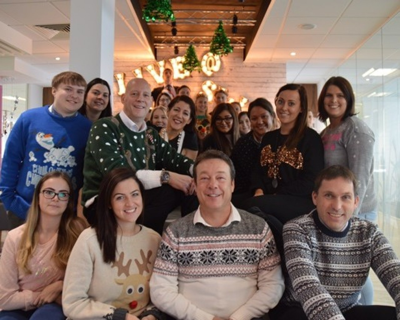 Swanstaff Recruitment wear Christmas jumpers for Text Santa and raise £113