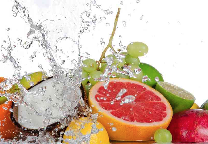 Fruit with water splashes, Nutrition and Hydration